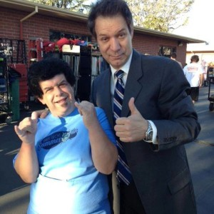 John Paizis on the set of the FX comedy, Legit with PASW actor Nick Daley photo by John Paizis