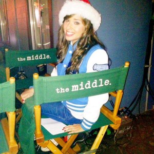 Natalie Lander in The Middle director's chair