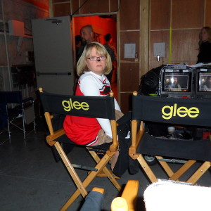 Lauren Potter on the Glee set